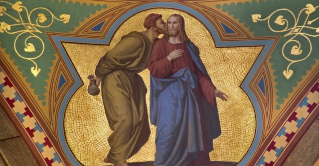 Judas kisses Jesus